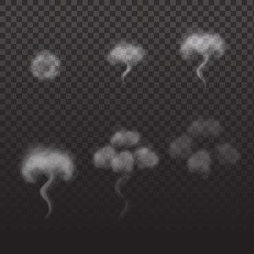 Smoke transparent animation. Sprite sheet for game or cartoon