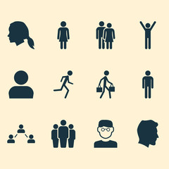 Human Icons Set. Collection Of Happy, Female, Scientist And Other Elements. Also Includes Symbols Such As Delivery, Gentleman, Mister.