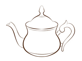 Illustration of teapot in outline style