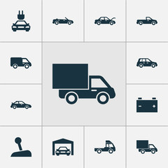 Car Icons Set. Collection Of Fixing, Truck, Accumulator And Other Elements. Also Includes Symbols Such As Lever, Auto, Convertible.