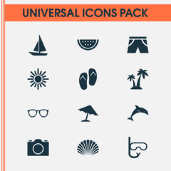 Hot Icons Set. Collection Of Ship, Forceps, Melon And Other Elements. Also Includes Symbols Such As Parasol, Shell, Flip.