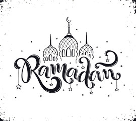 Ramadan text isolated on white background. Hand drawn calligraphy.  Mosque domes, crescent and stars with Ramadan wording in sketch style.