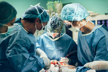 Team of Surgeons Operating.
