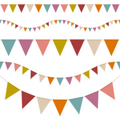 Set Of 5 Seamless Buntings Retro Colour