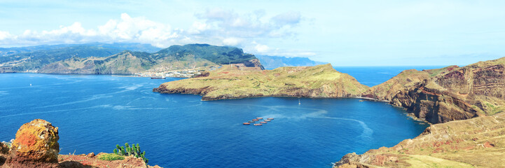 trekking to Sao Lourenco. Amazing cliff view panorama, Madeira island, Portugal