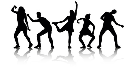 Illustration, vector, group of dancing people, silhouettes