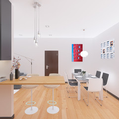 3D Interior rendering of an Apartment
