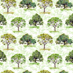 Green trees. Park, forest repeating pattern. Background with green leaves. Watercolor