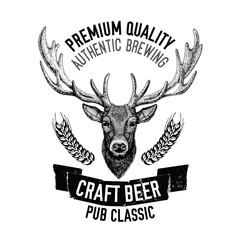 Hand drawn beer emblem with deer Vector label