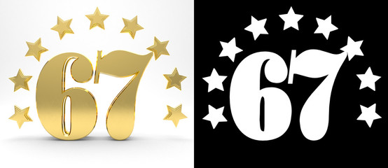 Golden number sixty seven on white background with drop shadow and alpha channel , decorated with a circle of stars. 3D illustration