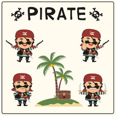 Set isolated pirate in cartoon style. Collection of pirate in different poses with pistols, swords, chest, island with palm trees.