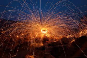 Swirl lights by steel wool