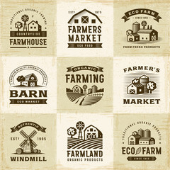 Vintage Organic Farming Labels Set