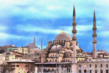 Colorful painting of New Mosque or Yeni Cami