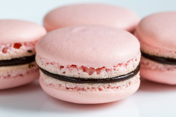 French desert pink macaron cakes macro view