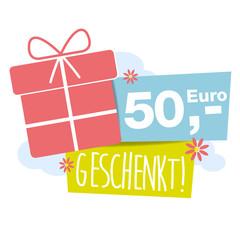 50,- Euro geschenkt! Button, Icon