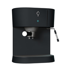 3D Rendering Coffee Machine on White