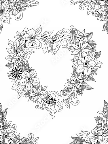 Floral Frame Hand Drawn Flowers And Leaves Doodle Art Outline Drawing For