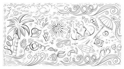 and drawn Doodle set of images on the theme of summer, sea, beach, relaxation. Vector illustration.