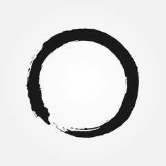 Buddhism symbol drawn with a brush. Round sign Zen.