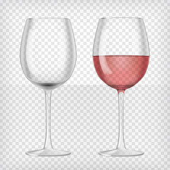 Set of realistic transparent wine glasses
