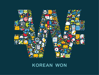 """Business icons are grouped in """"Korean Won"""" form"""