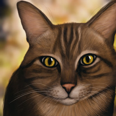 Brown Cat looking in the camera- Digital Painting