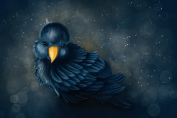 Little blue baby bird - Digital Painting