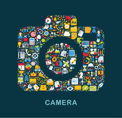 "Business icons are grouped in ""Camera"" form"