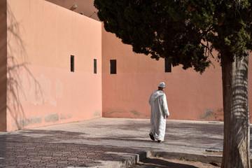 Muslim Arabic man walking
