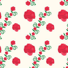 Pattern red roses on a branch with green leaves and a large rose light background art creative abstract vector