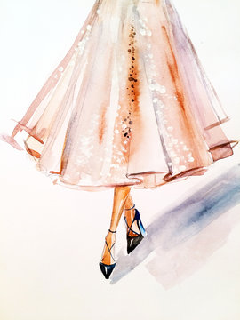 Watercolor fashionable sketch. Skirt with paillettes