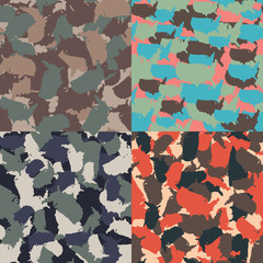 Set of USA shape camo seamless pattern. Colorful America urban camouflage. Vector fabric textile print design