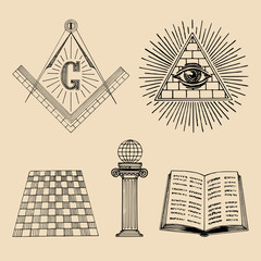 Vector masonic symbols set. Sacred society icons, freemasonry emblems, logos. Esoteric illustrations collection.