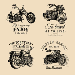 Vector motorcycles advertising posters set. Hand sketched illustrations for MC labels etc. Detailed bikes logos.