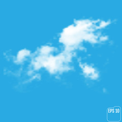 Realistic cloud on a blue  background. Vector illustration
