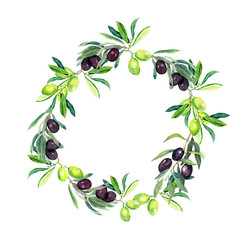 Olives branches of olive tree. Round wreath. Watercolor