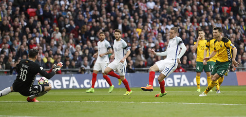 England's Jamie Vardy scores their second goal
