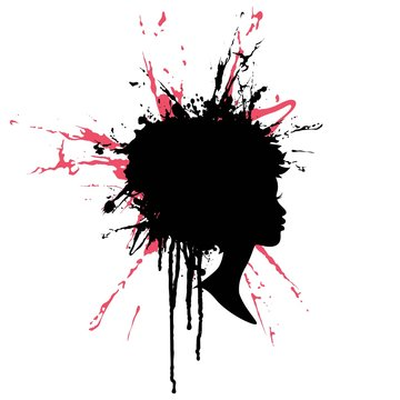 Woman profile silhouette with paint splash hair. Vector salon, spa and fashion cameo logo.
