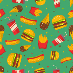 Fast food seamless patterns vector background.