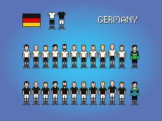 Germany football player uniform pixel art game illustration