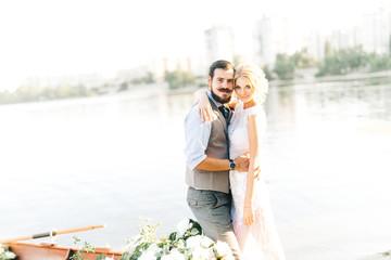 Amazing wedding couple on the boat