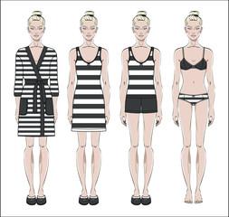 Set of women homewear, sleepwear and underwear. Bathrobe, nightgown, pyjama and lingerie on female figure. Vector illustration.