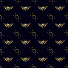 Butterfly Deaths head hawk moth. The symbol of the triple goddess. Vintage seamless pattern. For prints, T-shirts, bags, cards, textile, fashion, scrapbook paper. Vector