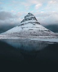 Reflection of a Mountain in a snow landscape