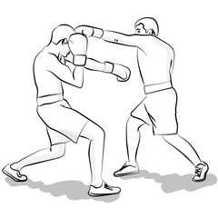 Two men are boxing. Illustration in the outline eps 10 illustration