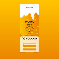Discount gift vouchers template design for opening beer party. Special offer or certificate coupons. Vector.