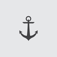 Anchor icon in a flat design in black color. Vector illustration eps10