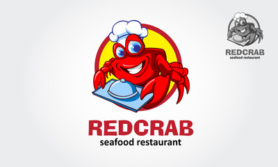 Cartoon red crab chef illustration - vector logo character