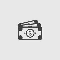 Money cash icon in a flat design in black color. Vector illustration eps10